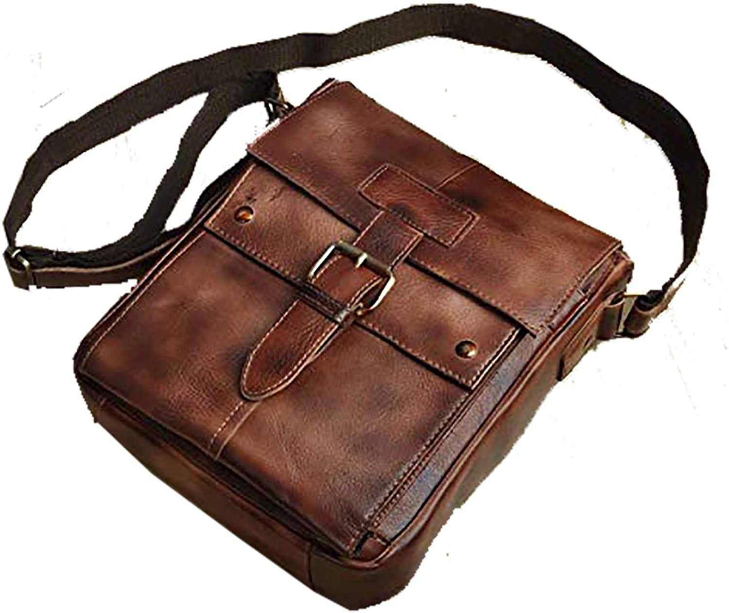 Le aokuu Mens Casual Satchel Laptop Shoulder Sling Bag Travel School Designer Strap Cross-body Messenger Bag Leather