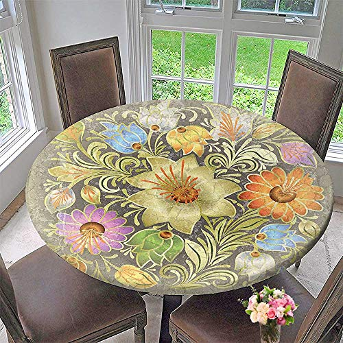 Mikihome Circular Table Cover Ornate Aged Bouquet Composition Over Style Marble Setting Boho for Wedding/Banquet 47.5