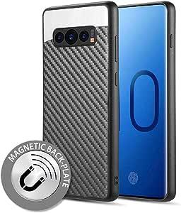 Luxmo Funda Case para Samsung Galaxy S10 Plus, Fibra de Carbono, Color Negro