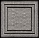 Unique Loom Outdoor Collection Solid Border Casual Indoor and Outdoor Transitional Gray Square Rug (6' x 6')