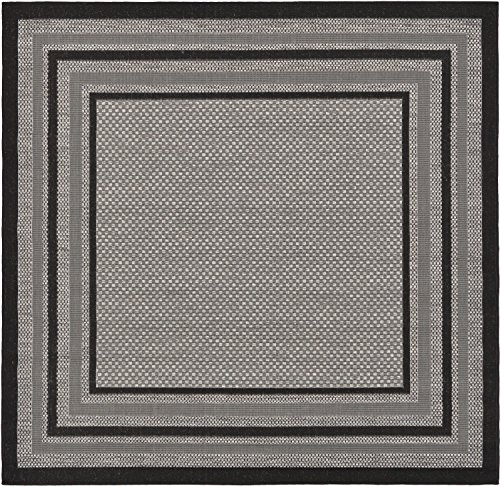 Unique Loom Outdoor Border Collection Solid Casual Transitional Indoor and Outdoor Flatweave Gray  Square Rug (6' x 6') (Square Gray Rug)
