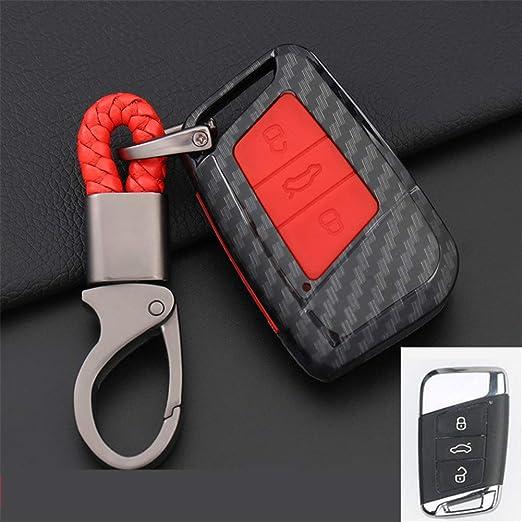 XUWLM Llaveros de automoción para Carbono Car Key Cover para ...