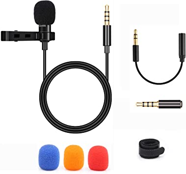 BIFY Lavalier Micrófono para Smartphone y PC, 2 adaptadores, para ...