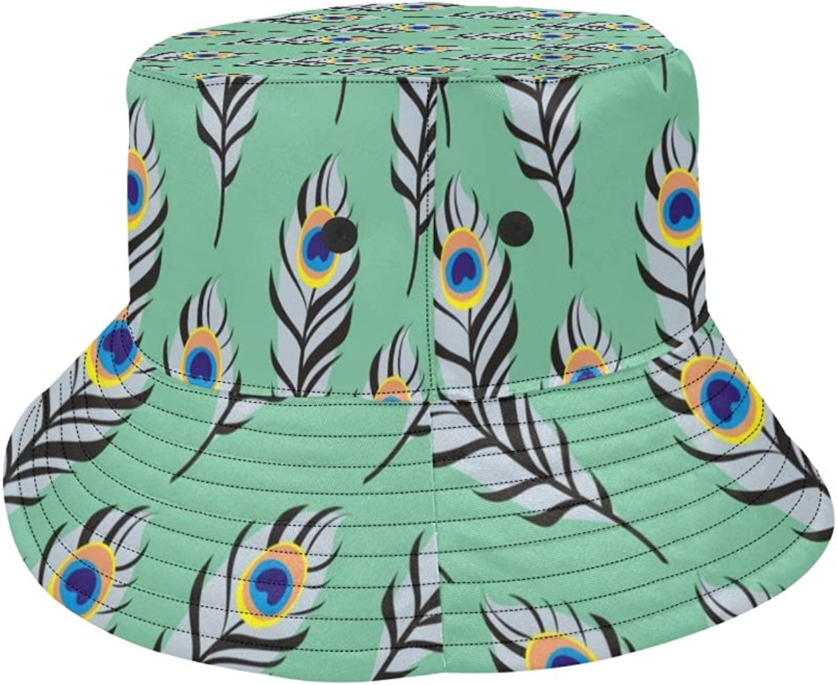 Peacock Feather Soft Long Design Summer Unisex Fishing Sun Top Bucket Hats for Kid Teens Women and Men with Packable Fisherman Cap for Outdoor Baseball Sport Picnic