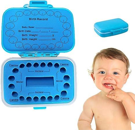 Caja para dientes de leche para niños, de PP/EVA, 11 x 8,3 x 3,5 cm, azul, para dientes de leche, rectangular, para guardar dientes de leche, para colecciones de pelo de fetales,