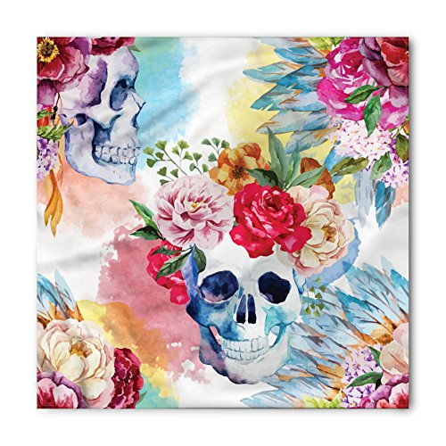 Skull Bandana by Lunarable, Colorful Pattern with Skull Headdress Ornament Portrait Watercolor Effect Ethnic Art, Printed Unisex Bandana Head and Neck Tie Scarf Headband, 22 X 22 Inches, Multicolor