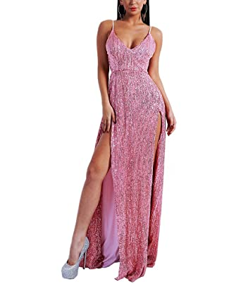 LinlinQ Womens Sexy V Neck Off Shoulder Backless Summer Vestidos Gown Sequin 2 Split Dress Pink