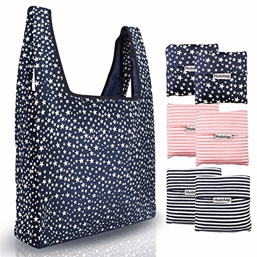 Reusable Grocery Bags 6 Pack Heavy Duty Folding Shopping Tote Bag by Holotap Washable, Durable, Lightweight and Waterproof Nylon Reusable Shopping Bags (Starry sky, Stripe) -