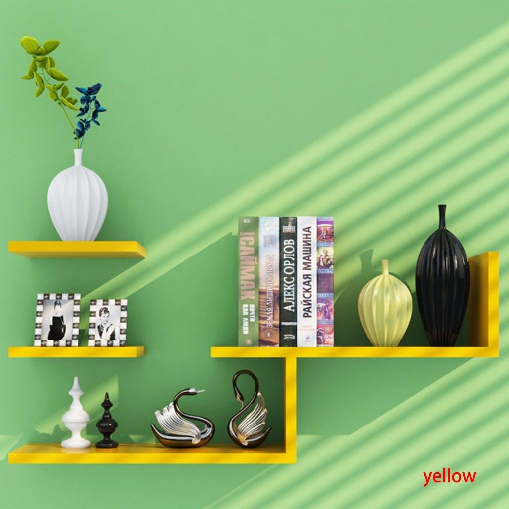 Shelf Friendship Shop- Wall Shelves Modern Floating Shelves Wall Hanging Rack (Color : Yellow)
