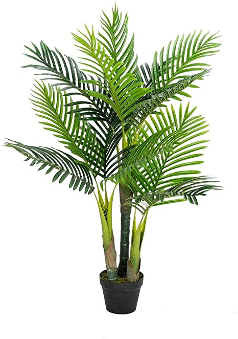 Amazon Com Vingli 3 5ft Fake Palm Tree Artificial Greenery Plants Decorative Uv Resistant Trees For Home Office Living Room Indoor Outdoor Kitchen Dining