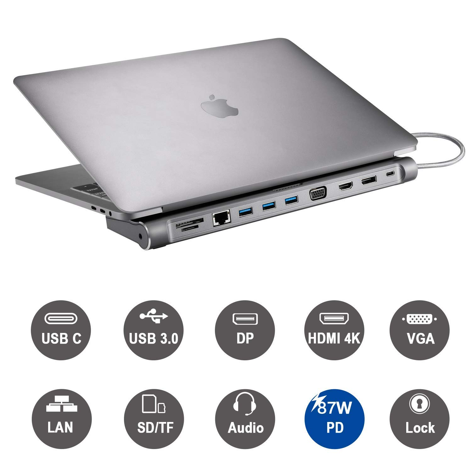 USB C Dock,12-in-1 USB C Docking Station with Ethernet Port, 4K USB C to HDMI, 3 USB 3.0 Ports, SD/TF Card Reader, USB-C Power Delivery, Display Port and VGA Port for MacBook Pro 2016/2017/2018 by Tobenone (Image #2)