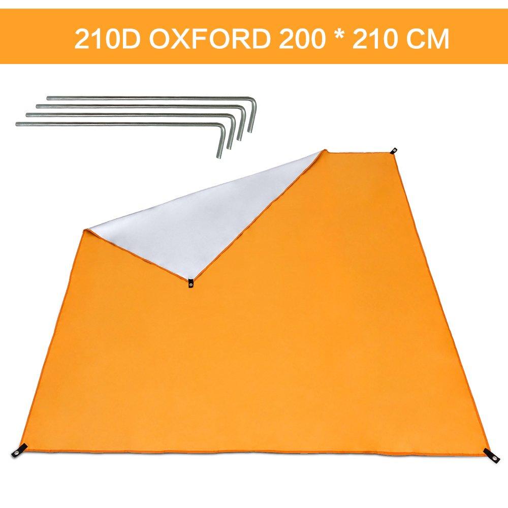Wonyered Lona de Suelo de Oxford Toldo Refugio Impermeable Plegable y Protección UV al Aire libre para Tienda de Campaña Picnic Pescada Senderismo Naranja Tamaño 1-5 personas