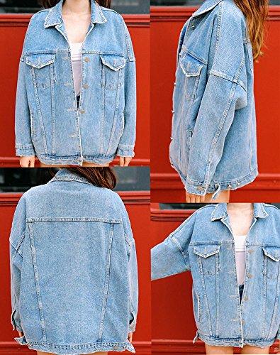 Washed Loose Outwear Boyfriend Femmes Minetom Oversize Style Lache Longue Denim Blouson Automne Bleu Printemps Veste Manteau Jeans Fzw4tqw