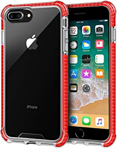 LOEV iPhone 8 Plus Case Clear, iPhone 7 Plus Case Clear, Shockproof Slim Hybrid Protective Case with 4 Corners Drop Protection Cushion TPU Bumper Transparent Cover for iPhone 8 Plus /7 Plus, Red