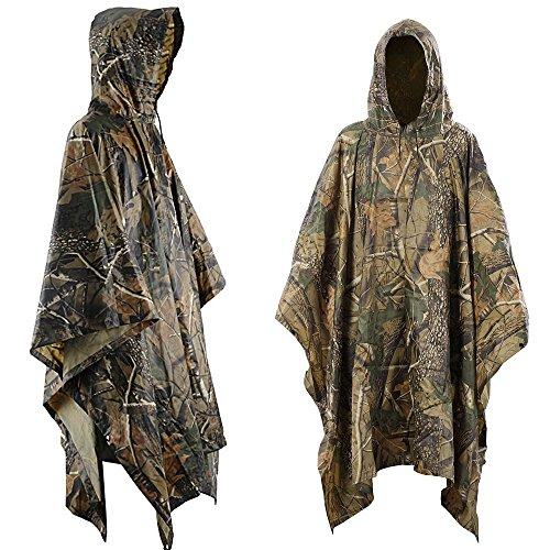 Aodoor Regenjacken Regenponcho wasserdicht regenmantel für die Jagd Camping, Freizeit Regenmantel, Baumblatt Camouflage Rain Poncho