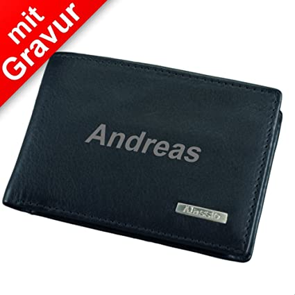 6e56dc197179a Alassio Mini Geldbörse Mini Wallet Leder schwarz MIT Gravur (z.B. Namen) -  Portmonee