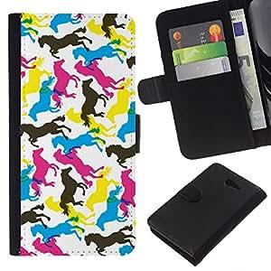 KLONGSHOP // Tirón de la caja Cartera de cuero con ranuras para tarjetas - Caballos Arte colorido Random Wallpaper Caballo - Sony Xperia M2 //