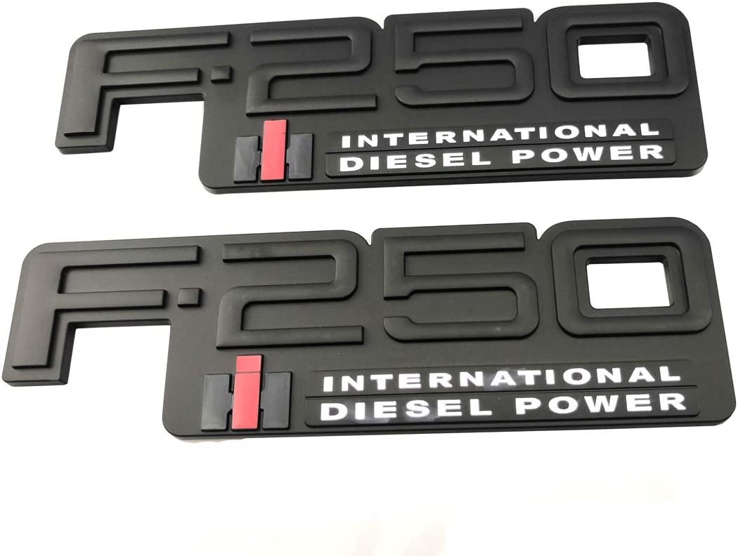 2pcs F-250 International Diesel Power Emblems Side Fender Door Decal Nameplate Badge Replacement for 83-94 F250 Black//White
