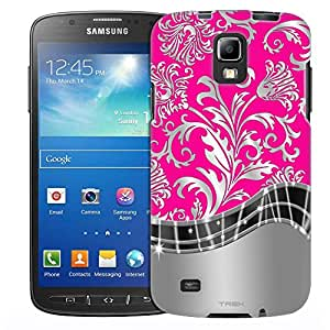 Samsung Galaxy S4 Active Case, Slim Fit Snap On Cover by Trek Damasks Metallic Style on Pink Case