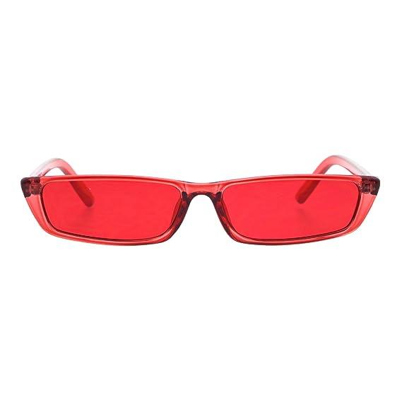 33a81c2b7f5 Amazon.com  Womens Pop Color Narrow Rectangular Cat Eye Clear Frame Plastic  Sunglasses Blue  Clothing