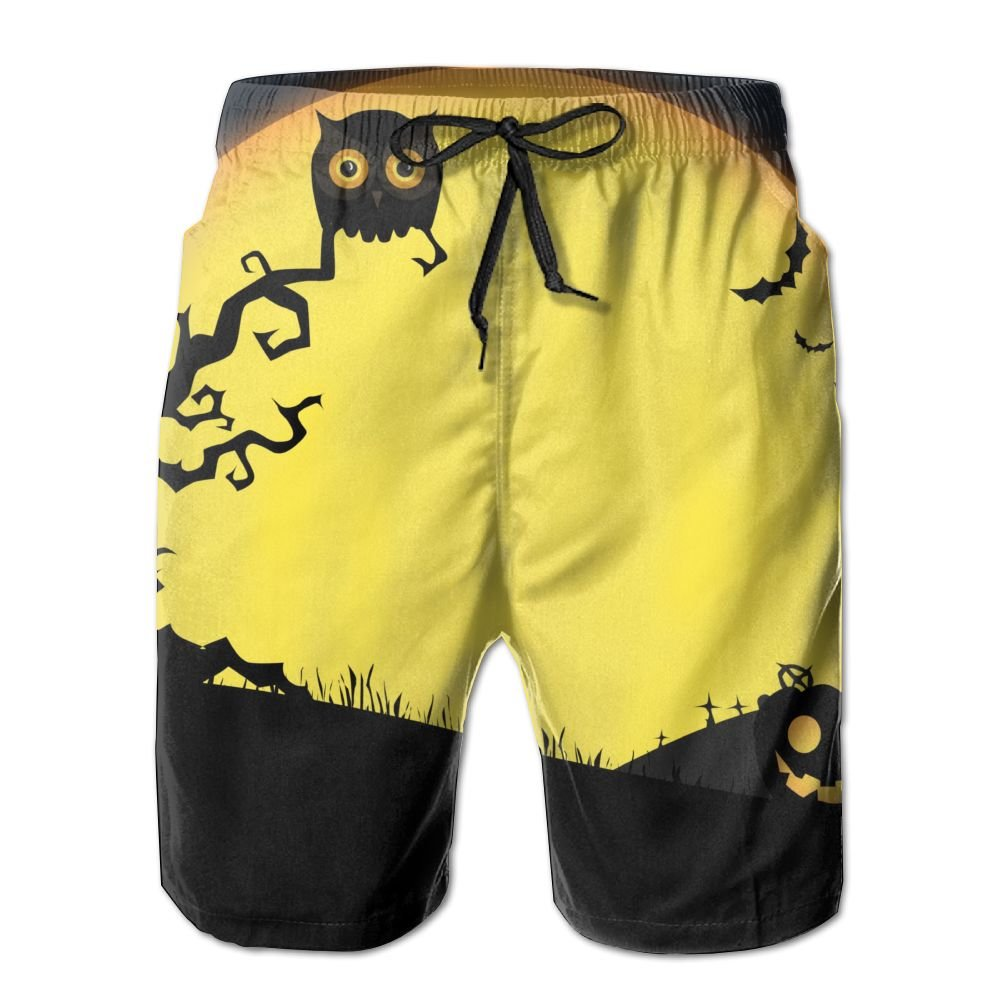 Mens Scary Owl Pattern Shorts Elastic Waist Pockets Lightweight Beach Shorts Boardshort