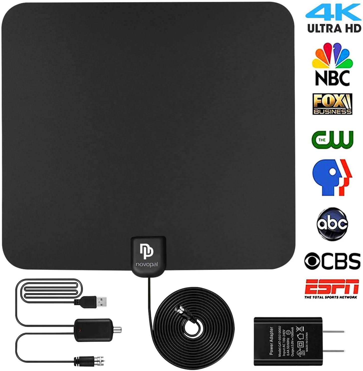 Versión actualizada] Antena de TV Digital HD para Interiores | 60~80 Millas de Largo Alcance | Soporta 4K 1080P con Amplificador de señal | Las Mejores Antenas HDTV: Amazon.es: Electrónica