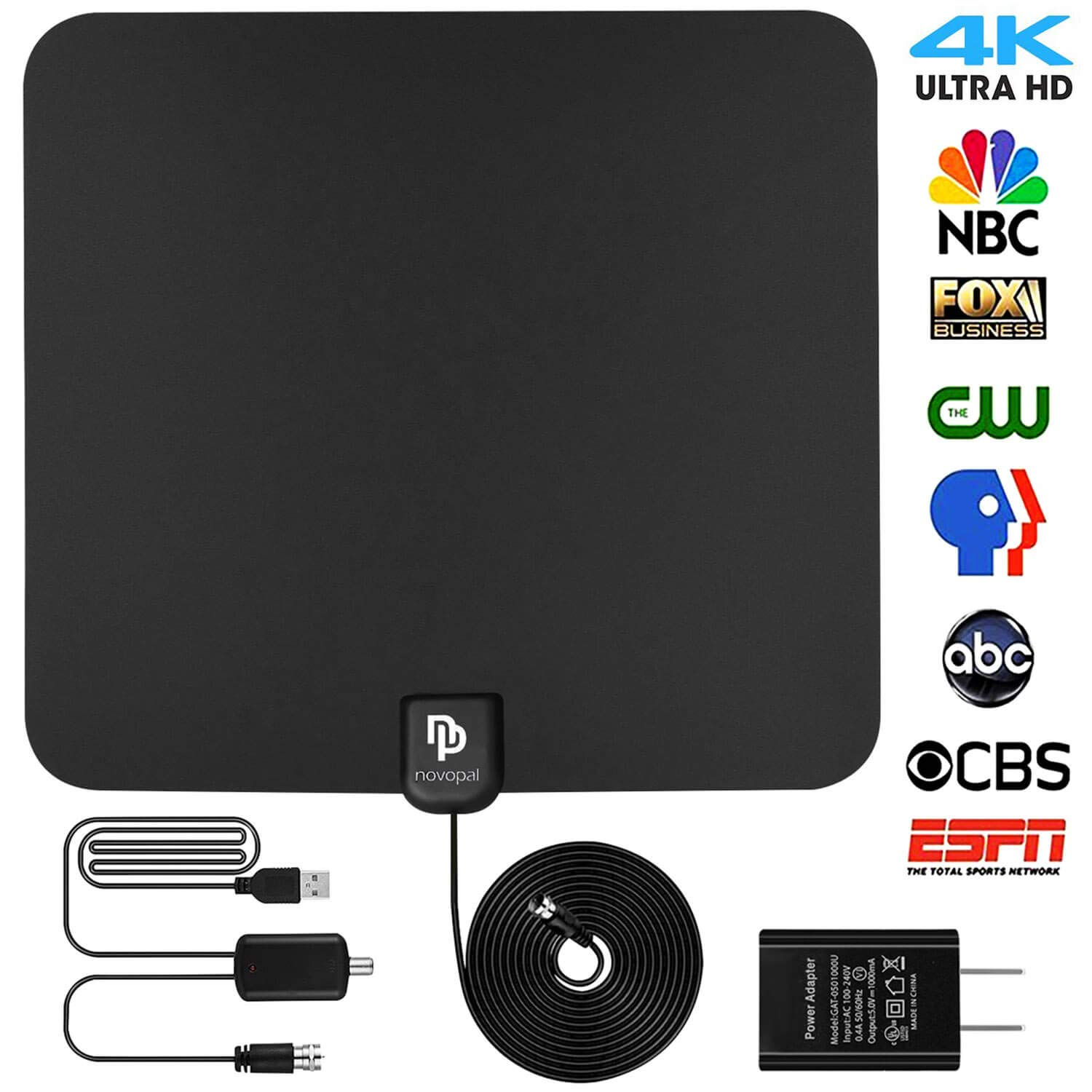 novopal [UPDATED VERSION] Indoor HD Digital TV Antenna | 60~80 Miles Long Range | Support 4K 1080P with Amplified Signal Booster |HDTV Antennas by novopal