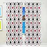 Ethel Ernest Cool Poker Cards Square Window Blackout Curtains With Grommet, 55W x 84L Inch, Darkening Blind Insulated Sun-proof Curtains for Bedroom,Living Room,Including 2 Panels