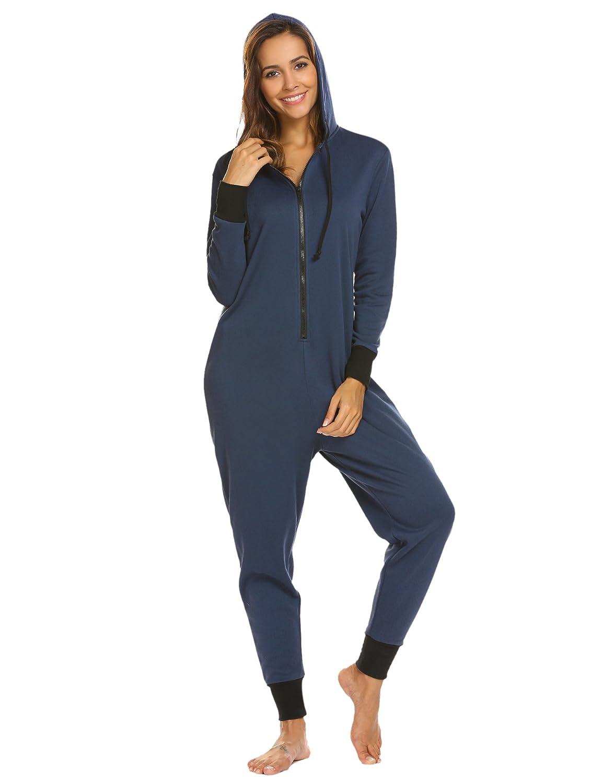 Jumpsuit Damen Schlafanzug Lang Overall Pajamas Onesie mit Kapuze und Reißvweschluss Einteiler Jogging Anzug Erwachsene