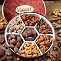 HOLIDAY NUTS GIFT BASKET PECANS - Cinnamon Pecans, Glazed Pecans, Chocolate Covered Pecans, Jumbo Cashews, Pecan Caramel Clusters, Almonds, Roasted Pecans- Mascot Candy Kitchen Since 1955 - Birthdays