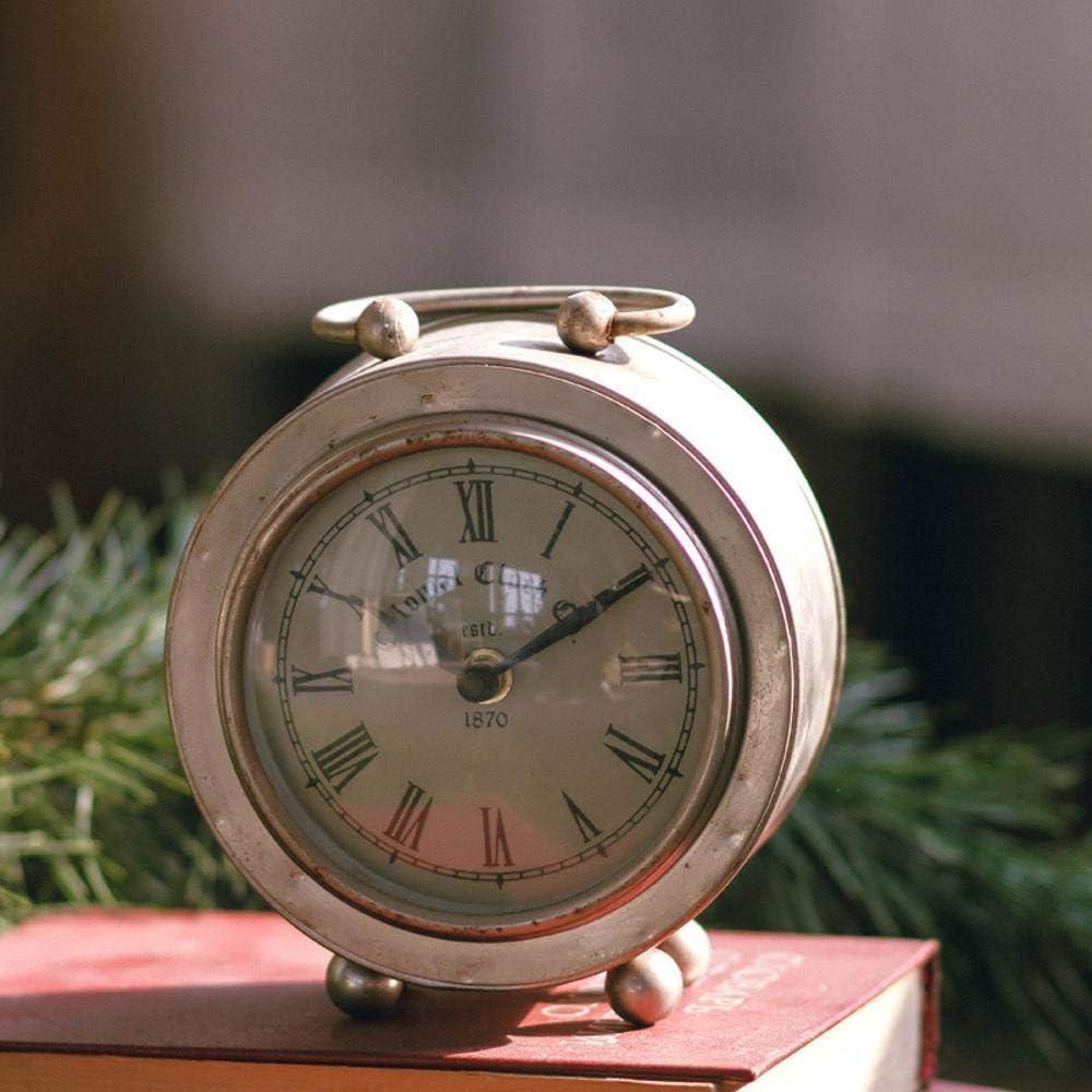 irugh Relojes de Chimenea,Antigua Sala Hierro Retro Reloj Adornos, Productos de decoración del hogar 14,5 * 13 cm