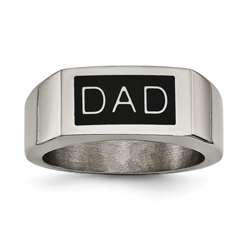 ICE CARATS Stainless Steel Black Enamel Dad Money Clip Band Ring Set Man Fashion Jewelry Gift for Dad Mens for Him