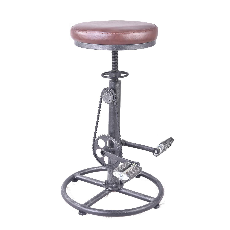 Topower Vintage DIY Bar Stool PU Soft seat & Iron Pedal Retro Industrial Height Adjustable Bicycle Wheel Design bar Chair