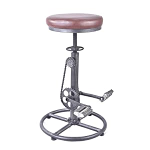 Topower Vintage DIY Bar Stool PU Soft seat & Iron Pedal Retro Industrial Height Adjustable Bicycle Wheel Design bar Chair