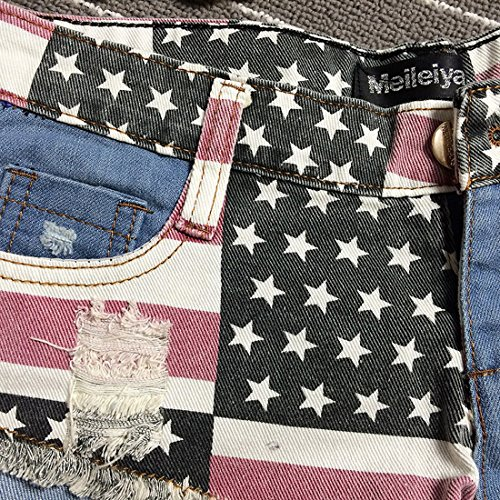 f1d00d1beb Chouyatou Women's Low-Rise American Flag Print Daisy Duke Ripped Denim  Shorts
