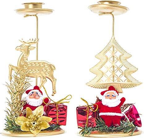 Snowman and Reindeer Christmas Tea Light Candle Holder with Santa