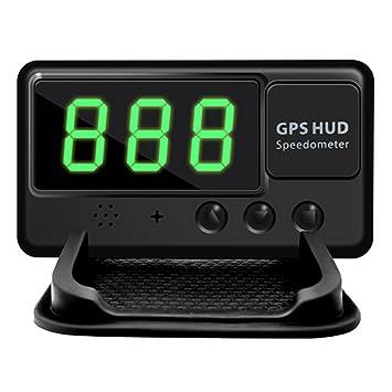 SYMTOP Velocímetro Universal de Coche Auto HUD GPS con Pantalla Frontal - Negro