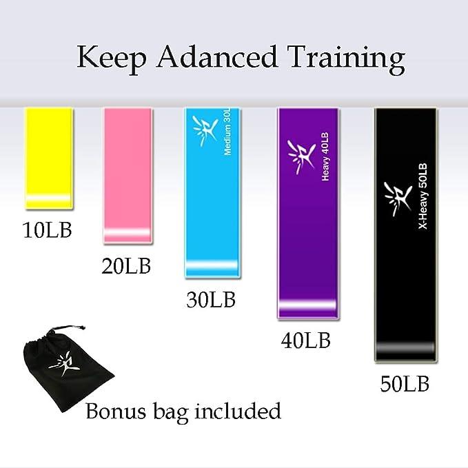 Terapia plana bandas de resistencia Set, látex libre soporte de ejercicio elástico bandas para estiramiento, flexibilidad, Pilates, Yoga, Ballet, ...