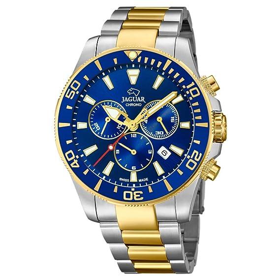 Reloj Jaguar caballero Executive crono acero bicolor esfera azul: Amazon.es: Relojes