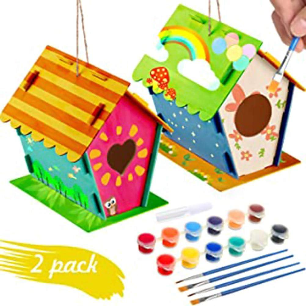 Jackallo - Kits de casita para pájaros de Madera para niños, educativos, para Construir y Pintar casita para pájaros, Kit de casita para pájaros con 4 Pinceles y 1 Pegamento para niños y niñas
