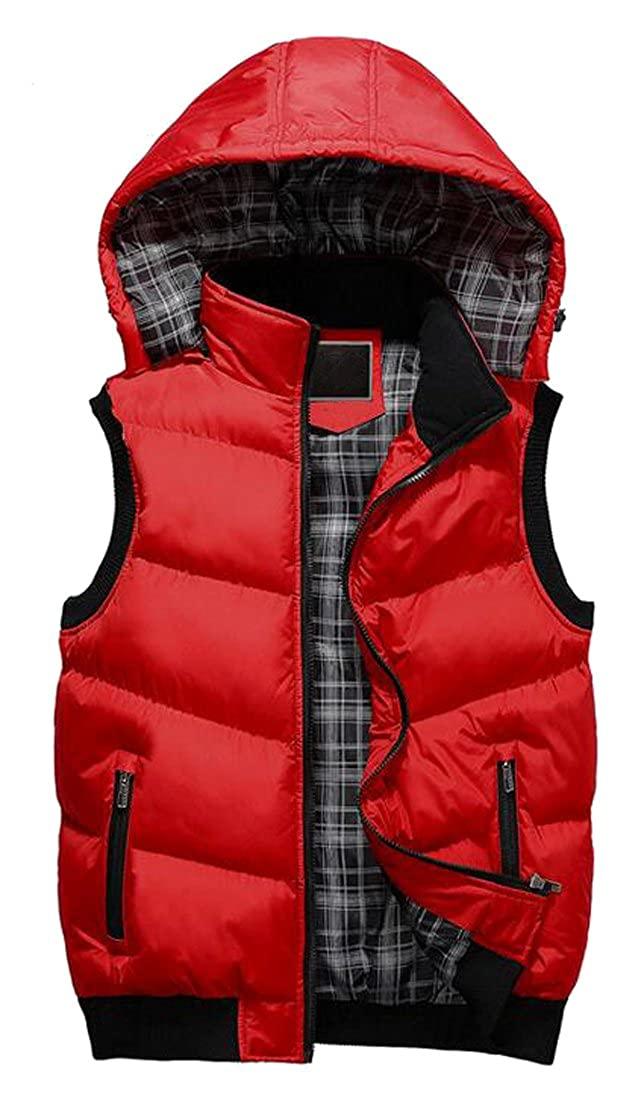 LD Mens Winter Removable Hooded Quilted Vest Outdoor Puffer Vest
