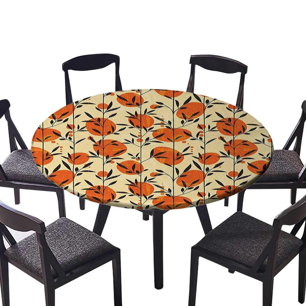 ピクニックサークルテーブルクロス 太陽の光で照らされたレーン 秋の紅葉 秋の森の風景 オリーブ色 家族のディナーや集まりに (エラスティックエッジ) 55