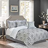 Sweet Home Collection 5 Piece Down Alternative Decorative Fashion Bedding Set with Comforter, Pillows. and Shams, King, Gray/White, 5 Piece