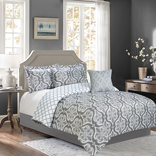 Sweet Home Collection 5 Piece Down Alternative Decorative Fashion Bedding Set with Comforter, Pillows. and Shams, King, Gray/White, 5 Piece by Sweet Home Collection