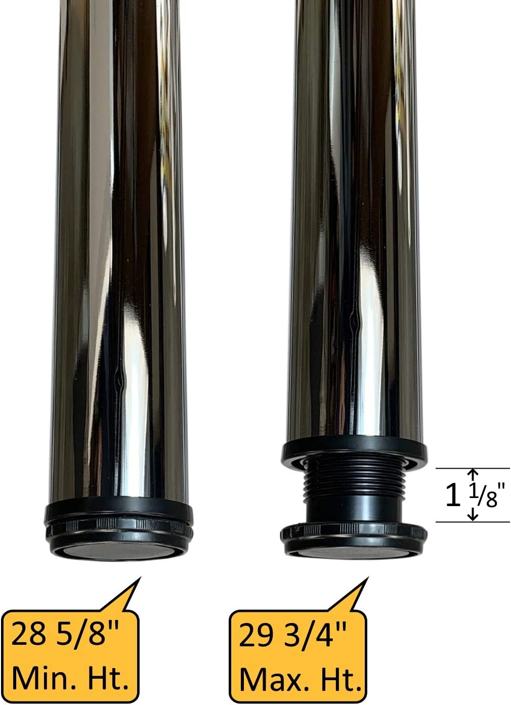 """Chrome Legs for 30/"""" Table or Desk 2 3//8/"""" Diameter Adjusts from 28 5//8/"""" 29"""