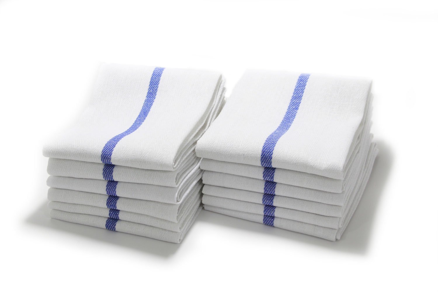 White Barber & Shaving 15'' x 26'' Towel with Blue Stripe - 12 Pack