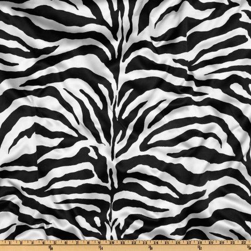 Ben Textiles Charmeuse Satin Zebra Fabric, White/Black, Fabric by the yard