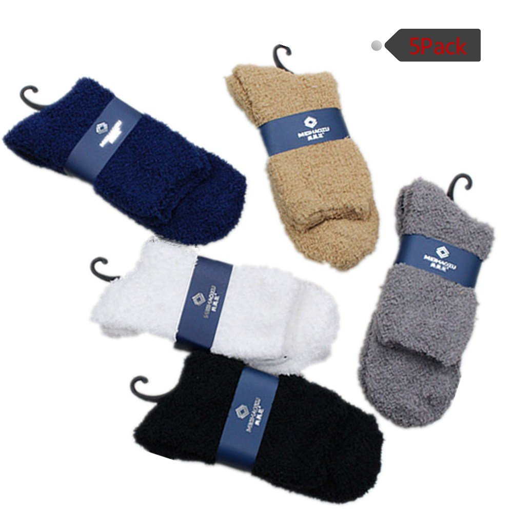 100 Points 5 Pack Men Extra Thick Wool Dress Socks Thermal Winter Boot Socks