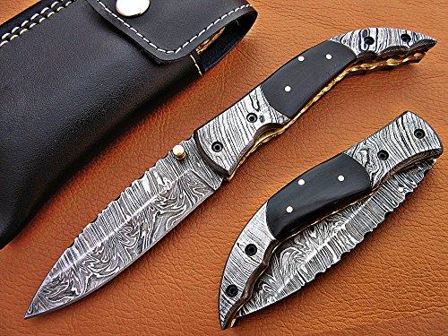DR-5073 Custom made damascus blade folding pocket knife, solid knife. (Horn)