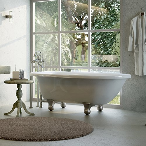 Luxury 60 inch Modern Clawfoot Tub in White with Stand-Alone Freestanding Tub Design, Includes Modern Brushed Nickel Cannonball Feet and Drain, From The Laughlin Collection by Pelham & White